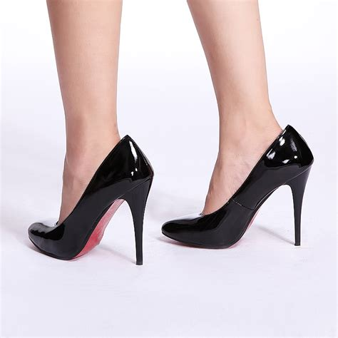 fashion care 2u x002 black 12cm high heels pumps shiny