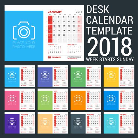 desk calendar 2018 template vectors vector calendar free