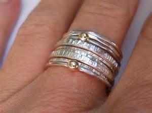 silver handmade stacking rings felt