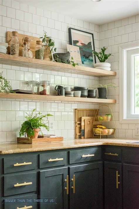 diy open shelving kitchen guide bigger than the three of us
