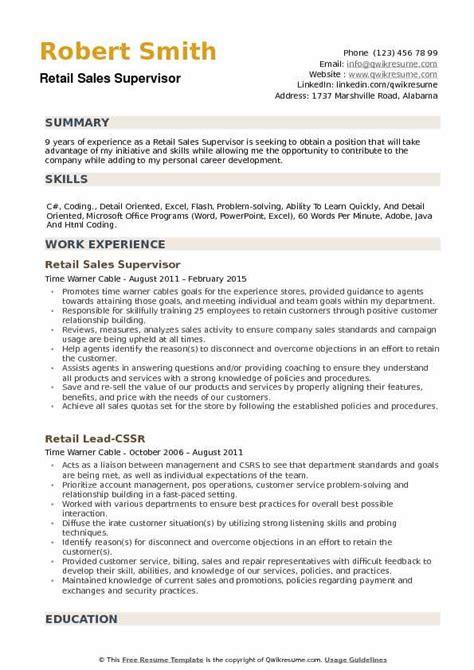 resume sles for supervisor retail sales supervisor resume sles qwikresume