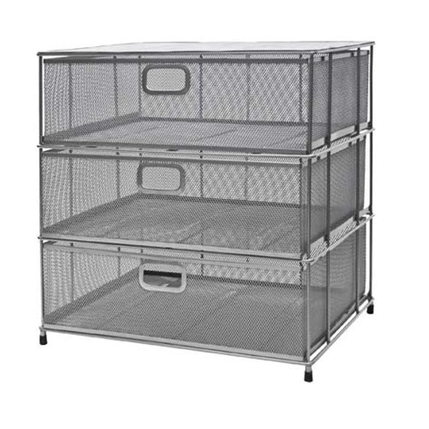 Wire Mesh Storage Drawers by Silver Metal Mesh Three Drawer Chest Organize It All