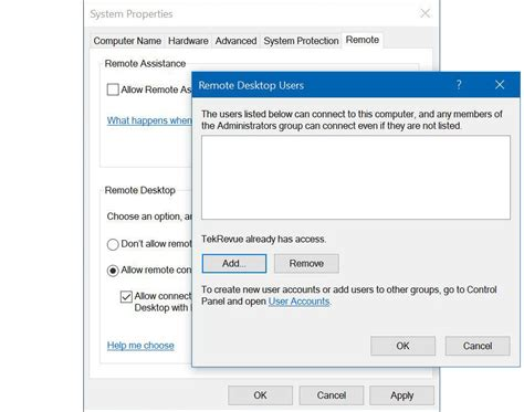 remote desktop rdp enable remote desktop access in windows 10 to log into