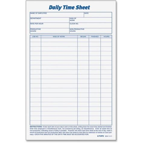 tops daily time sheet form top30041 discounted prices