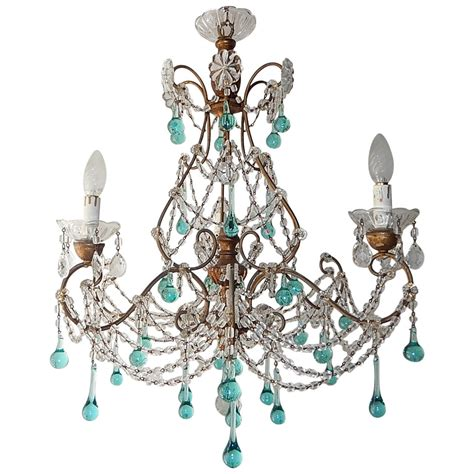 French Aqua Blue Balls And Drops Crystal Chandelier Circa Drops For Chandelier
