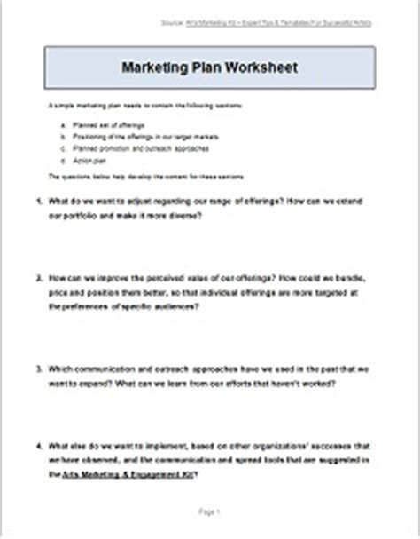 All Templates Worksheets Arts Marketing Engagement Kit Simple Marketing Plan Template 2