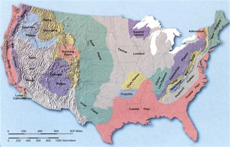 map usa states forms landforms of the united states it all