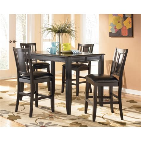 pub style dining room set ashley furniture signature designcarlyle 5 piece dining