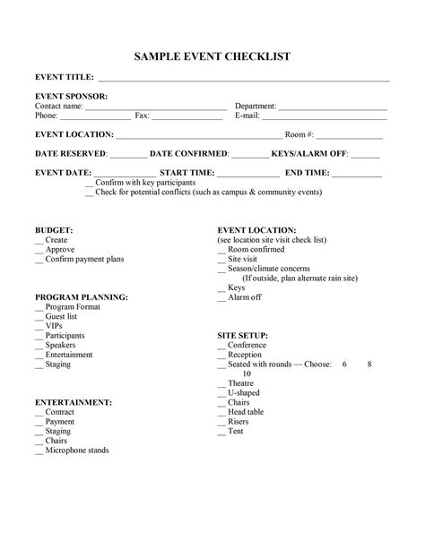 Template For Event Event Planning Checklist Template