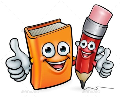book and pencil cartoon characters by krisdog graphicriver