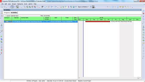 Calendar Issues Calendar Issues In Primavera P6 Primavera Scheduling