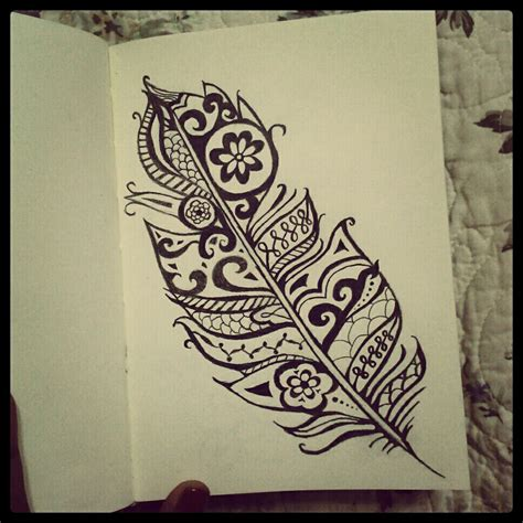 feather tattoo henna henna feather my black and white drawings pinterest
