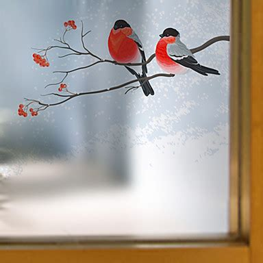 window film window decals style a bird on a branch matte