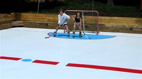 Backyard Hockey Rink Plans Super Glide Home Hockey Rink By Global Synthetic Ice Youtube