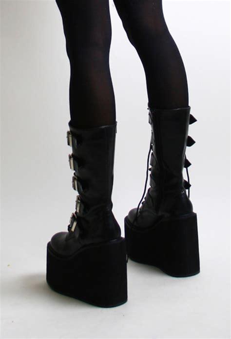 demonia swing 220 demonia swing 220 black matt lace and buckle up calf