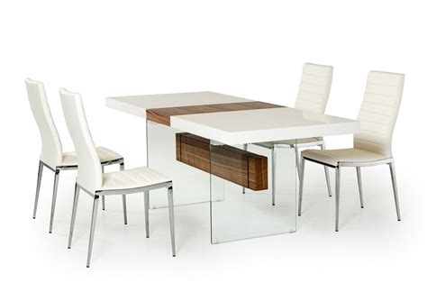 Contemporary Dining Table Chairs Magnificen White Modern Dining Table Using Best Wood And Glass Material And Rectangle Shape