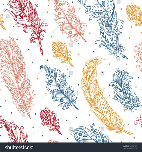 tribal pattern feather ethnic feathers seamless pattern hand drawn stock vector