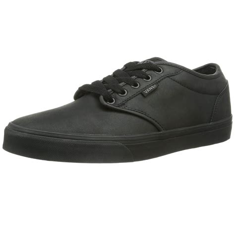 vans mens atwood leather black school shoes new fashion