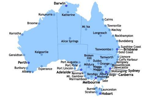 map of australia with major cities australia bound