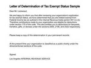 Charity Letter Determination letter of determination of tax exempt status sample