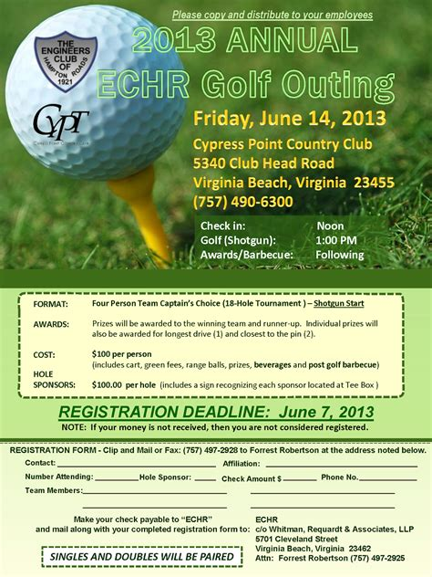 Golf Outing Flyer Template tidewater chapter vspe 2013 annual echr golf outing
