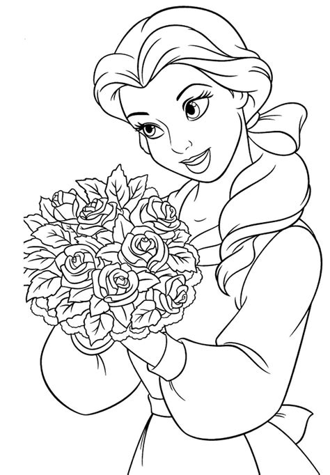 princess belle carry flowers coloring pages coloring
