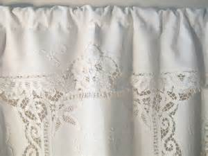 Cafe Valance Curtains Battenburg Tablecloth Window Curtain Repurposed Linens Cafe