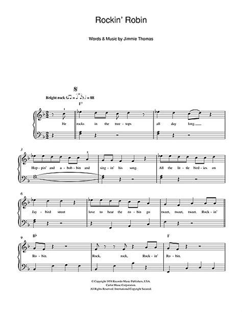 printable lyrics to rockin robin rockin robin sheet music by michael jackson beginner