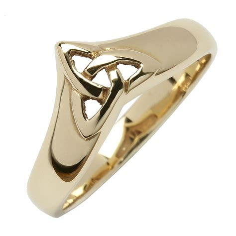 Celtic Trinity Knot Yellow Gold Wishbone Ring   Celtic