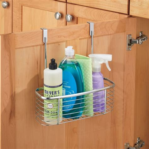 Cabinet Door Storage Basket Axis Chrome Cabinet Storage Basket In Cabinet Door Organizers