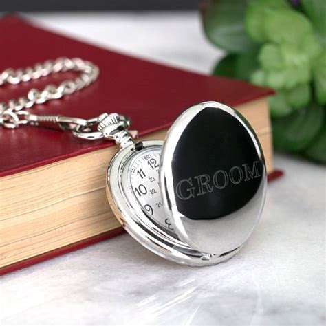 Engraved Pocket Watch for Groom   The Personalised Gift Shop