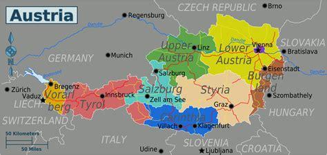 austria regions map landkarte oesterreich regionen weltkarte karten