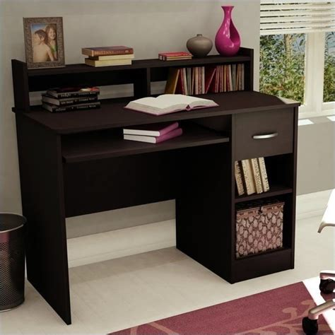 small wood computer desk axess small wood computer desk with hutch in chocolate