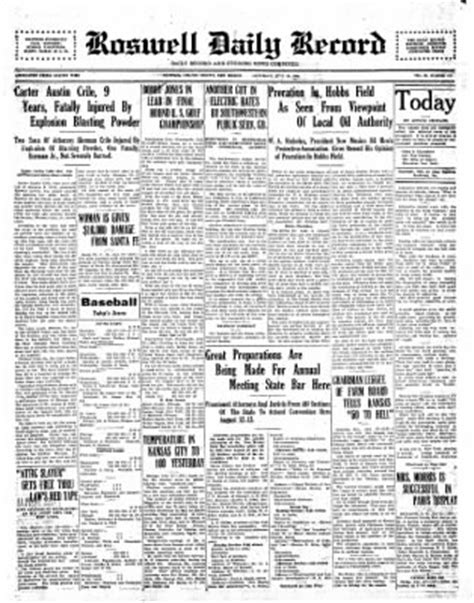 Roswell Nm Records The Roswell Daily Record From Roswell New Mexico On July 12 1930 183 Page 1