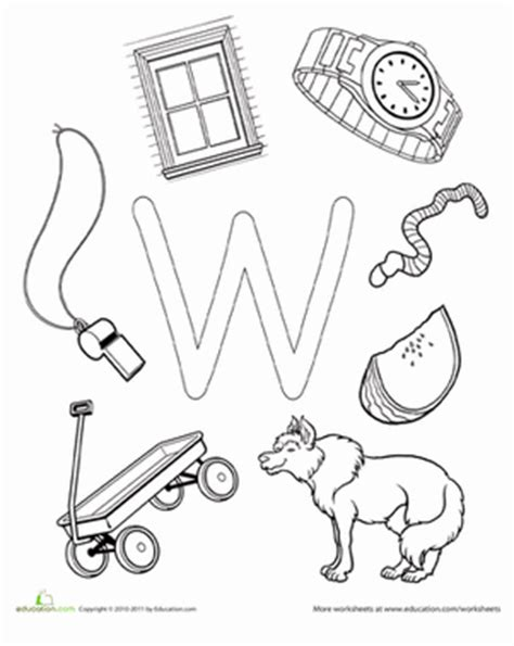 preschool coloring pages letter w w is for worksheet education com