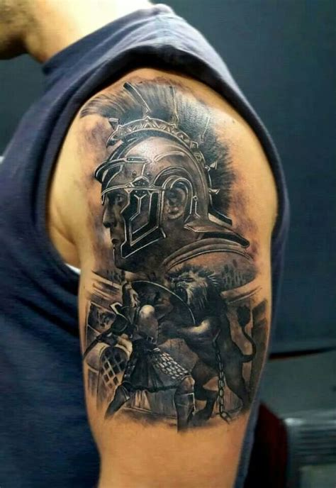roman tattoo gladiator shoulder ideas
