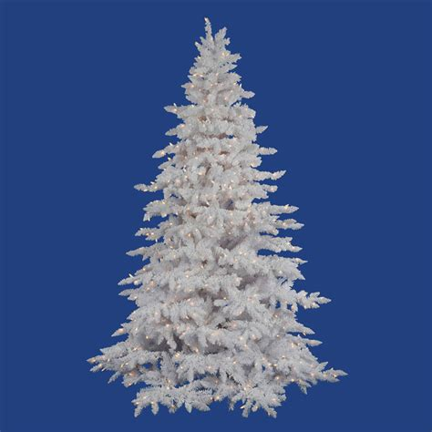 10 foot flocked white spruce christmas tree all lit