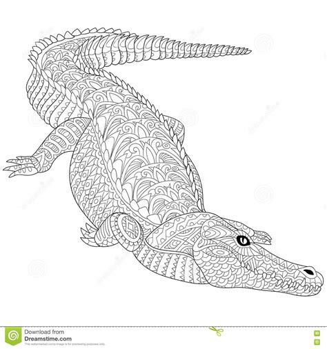 zentangle stylized crocodile alligator stock vector