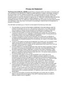 609 Information Disclosure Statement