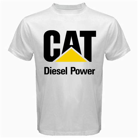 T Shirt Caterpillar White cat caterpillar machine engine diesel power logo mascot