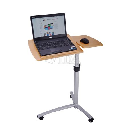 Laptop On A Desk Angle Height Adjustable Rolling Laptop Desk Bed Hospital Table Stand Ebay