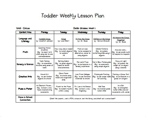 printable infant toddler lesson plans 10 toddler lesson plan templates pdf word excel