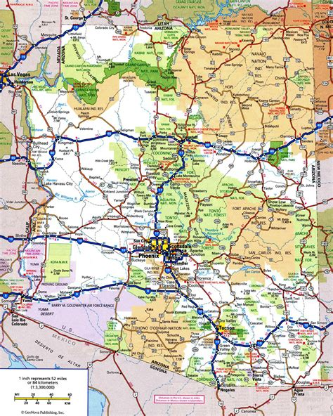 arizona highway map large detailed highways map of arizona state with all
