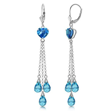 Blue Topaz Chandelier Earrings 9 5 Carat 14k Solid White Gold Chandelier Earrings Briolette Blue Topaz Ebay