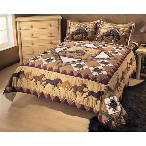 Western Quilt Bedding Sets Stitched Western Bronco Quilt Set 134955 Quilts At Sportsman S Guide