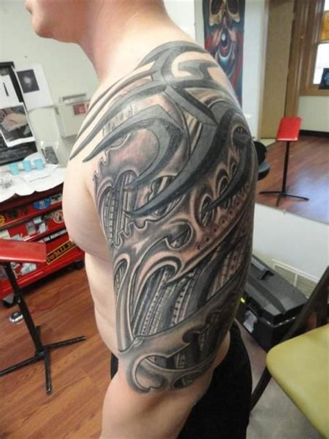 tribal biomechanical tattoo half sleeve tribal biomechanical tattoos design http