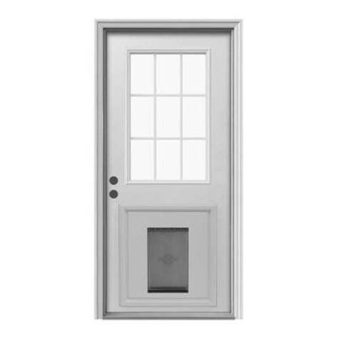 Exterior Doors With Pet Doors Jeld Wen 9 Lite Primed White Steel Prehung Front Door With Medium Pet Door And Brickmold