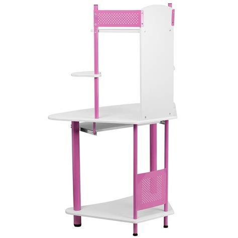 corner computer desk with hutch in pink nan jn 2705 pk gg