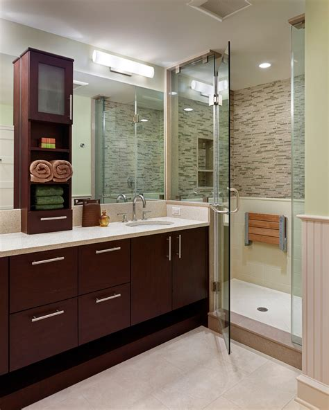 Teak Shower Seat Bathroom Contemporary With Bathroom Countertop Bathroom Storage