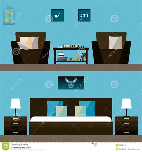 bedroom interior banners set in flat style vector interior design modern bedroom banner vector illustration